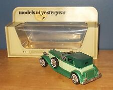 Matchbox Yesteryear Y4 Duesenberg Model J Town Car Green with Lime Rear Panel