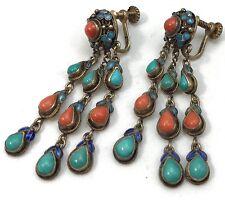 Chinese Export Silver Enamel Turquoise Coral Screw back Earrings N95