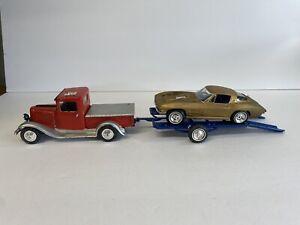 Vintage built model car Kit AMT 64 Corvette & Truck w/ trailer