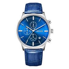 Baogela Men's Watches Quartz Movement Blue Leather Strap Waterproof Wrist Watch