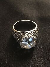 Ring Size 7,12 Mm Stone Gsj Dqcz Sterling Silver Filigree Cz Engagement