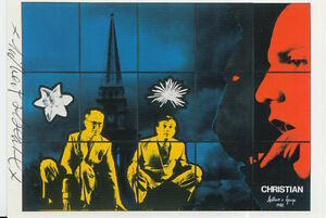 GILBERT AND GEORGE HAND SIGNED 6X4 POSTCARD CHRISTIAN.