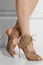 Nicholas Kirkwood Laser-cut leather sandals EU40.5 UK7.5 US10.5 TAN NEW WITH BOX