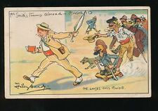 Comic Social History artist DUDLEY HARDY Tramp Abroad Madrid c1900s PPC