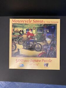 Sunsout Motorcycle Santa 500 Piece Jigsaw Puzzle Excellent Preowned Condition