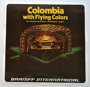 Vintage 1970's Braniff International Airlines Poster - Colombia (Version 2)
