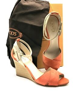 TOD'S Italian Suede and Patent Leather Wedge Sandal in Orange US SZ 10 - NEW!