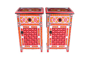 Moroccan Nightstand Table Hand Painted Arabian Style Red Glass Top Sold as Pair