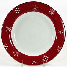 "Laurie Gates WINTER WONDER 11"" Dinner Plate Christmas Snowflake Red Platinum"