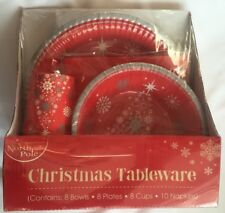 Christmas Tree Tableware Party Set Disposable Paper Plates Cups XMAS Party