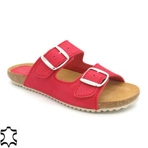Ladies slippers Leather Mules Real Leather footbed & Cork Sole Sandals, Red