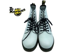 Dr. Martens Air Wair Sole Bouncing Lace-Up Boots Leather White Rubber, Airwair