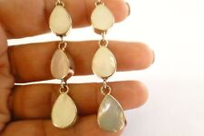 White Mother of Pearl Trio 3-Stone Linear 925 Sterling Silver Earrings