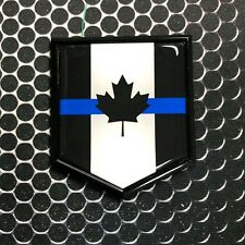 CANADA THIN BLUE LINE BLACK Emblem Domed Proud Police Flag 3D Sticker 2x 2.25""
