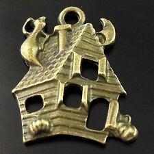 Antique Bronze Tone Halloween Haunted House Pendant - Charm