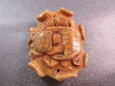 Camel Bone Carved Turtles Bead Pendant 1pc