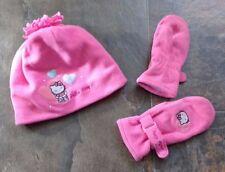 Sz 4 5 6 7 Sanrio Hello Kitty Pink Fleece Winter Hat Mittens Blue Purple Hearts
