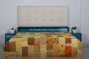 Patola Saree Kantha Quilt Patchwork Queen Bedspread Boho Handmade Bedding Throw