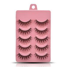 5 Pairs Luxury Handmade Black Natural Long Fake Eye Lashes Thick False Eyelashes