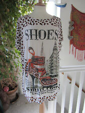 Cameo Rose New Look Ladies Rhinestone Shoes Design Leopard Print Tunic Size M/L