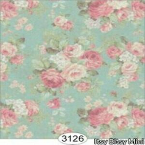 Dollhouse Miniature Wallpaper - Roses on Teal Background 1:24 Scale