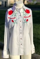Vintage Womens Panhandle Slim Embroidered Rose Country Western Style Shirt M