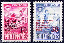 Philippines 1961 MNH 2v, Over Print, Boy Scouts, Camp Fire
