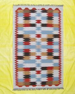 Woollen Rug Geometric Zig-Zag Nomad  5x8 ft Kilim Turkish Afghan Kilim Handmade