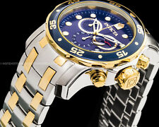 Invicta 48mm Pro Diver Scuba Chronograph Blue Dial Gold IP 2-Tone SS 200MT Watch