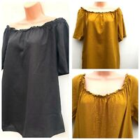 Ex Evans Gypsy Style Linen Mix Top Mustard Or Black Sizes 14-32 *NEW*
