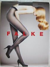 NWT $49 FALKE Women 20 Den Appearance Tights Sz L Black/Silver #40705