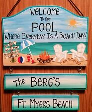Personalized Beach Pool Sign Hand Painted  for Patio Yard Home