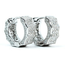 Sterling Silver Small Hoop Huggie Earrings Mens Fully Iced Cz White Gold 925