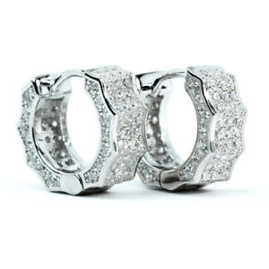 Mens Fully Iced Cz White Gold 925 Sterling Silver Small Hoop Huggie Earrings
