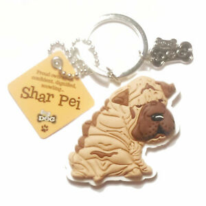 """Wags & Whiskers Dog Key Ring """"Shar-Pei"""" by Paper Island"""