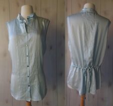 NWOT $265 Elizabeth and James Baby Blue Silk Pintucked Top Tunic Blouse Shirt M