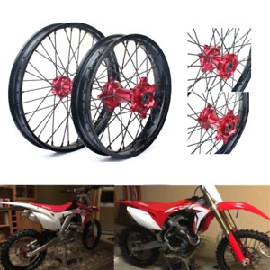 21+19 Front Rear Complete Wheels Red Hubs Rims for Honda CR 125 250 CRF 250 450