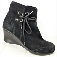 You By Crocs Black Suede Ankle Boots Booties Wedge Heel Size US 9 EU 40