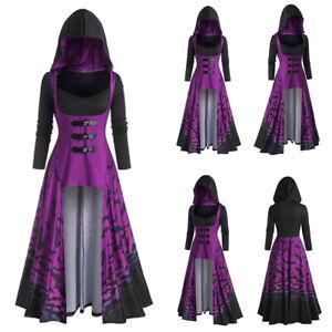 HALLOWEEN Womens Cloak Hooded Dress Irregular Cape Coat Steampunk Gothic Jacket