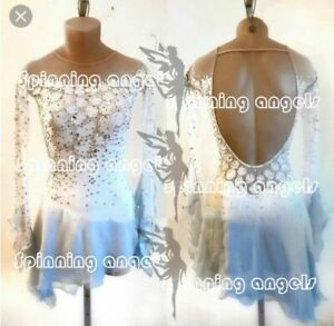 High Elasticity Competition Skating Wear Handmade Jeweled dress white dyeing