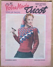 VOTRE MODE TRICOT magazine 1940 1950? n°11 FASHION VINTAGE KNITING PULL 30 MODEL