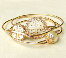 Punk Multilayer Religious Cross Statement Bracelet Gold White Pearl Crystal Gift