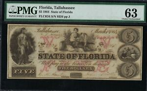 $5 State of Florida, Tallahasse. 1864. CR-34. *RARE* PMG 63 Uncirculated