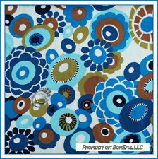 BonEful Fabric FQ Cotton Quilt VTG Cream Blue Brown Aqua Dot Flower Retro Hippie