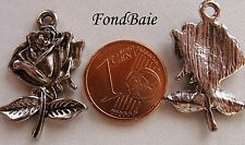 4 Breloques perles FLEUR ROSE 26mm METAL ARGENTE B173 DIY bijoux petit pendentif
