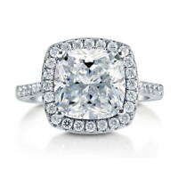 BERRICLE Sterling Silver Cushion Cut CZ Statement Halo Engagement Ring 6.13 CTW