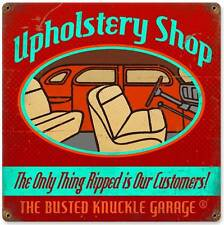 Busted Knuckle Garage Upholstery Shop Retro Metal Sign Man Cave Shop Club BUS084