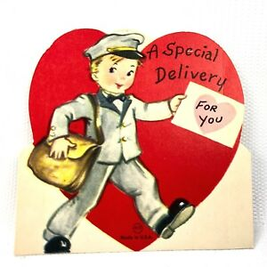 Vtg 40s 50s Valentines Day Card Special Delivery Boy Mailman Ephemera Greeting