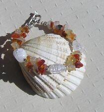 "Carnelian & Crackled Clear Quartz Crystal Gemstone Bracelet ""Citrus Dew"""