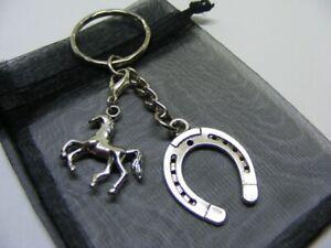 Lucky Horseshoe & Horse Pony Charm Keyring With Gift Bag
